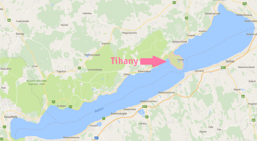 Hongrie - carte de la péninsule de Tihany