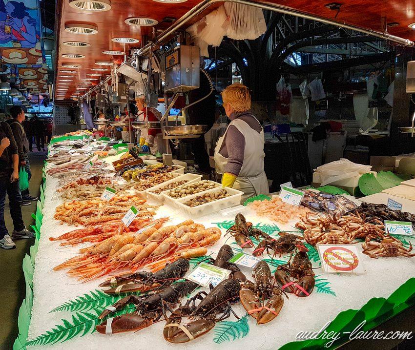 Voyage à Barcelone - marché aux poissons - Boqueria