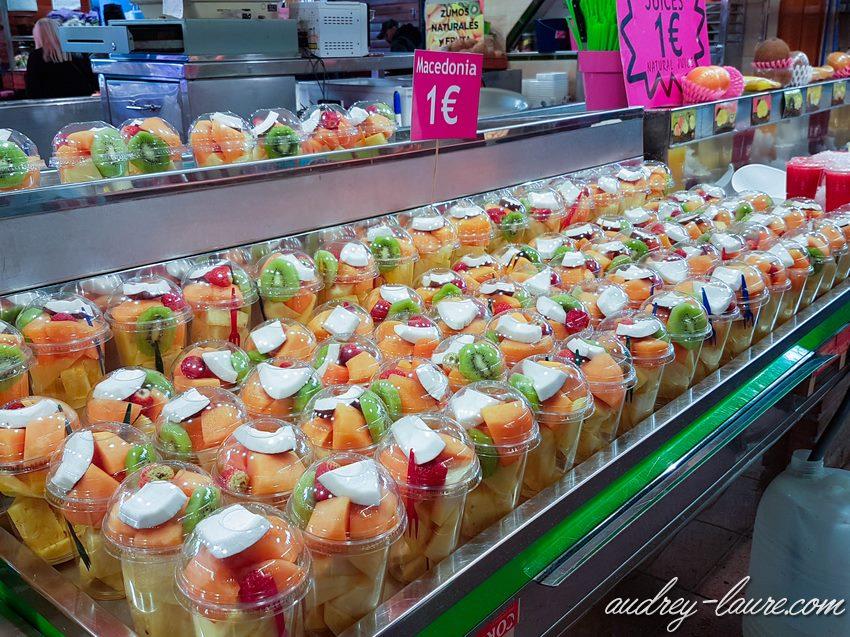 Barcelone- blog - marché de la Boqueria - salade de fruits