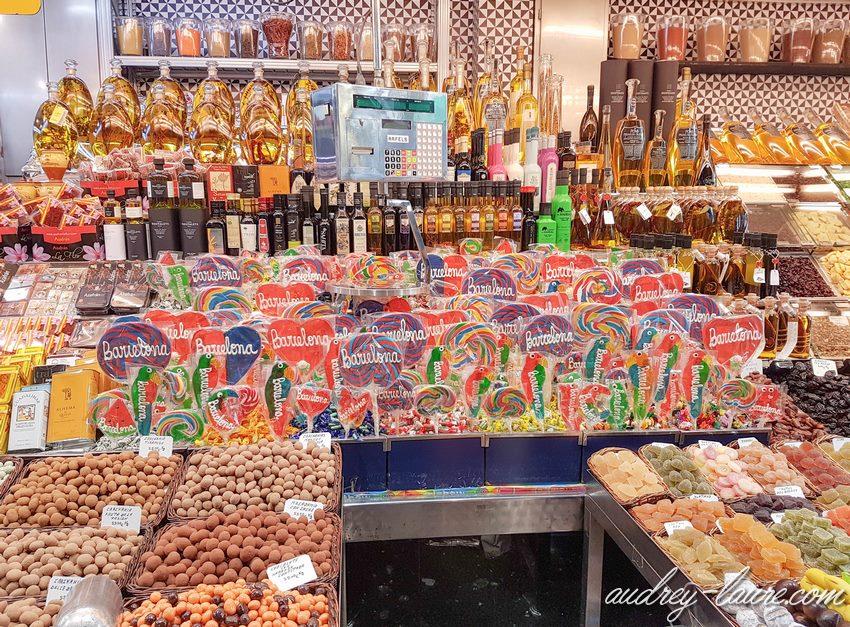 Barcelone- marché de la Boqueria - sucettes Barcelona