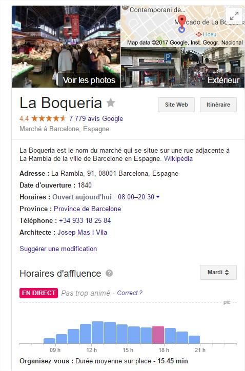 avis boqueria marché barcelone