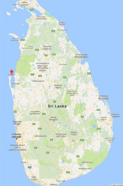 Carte du Sri Lanka - lagune de Kalpitiya