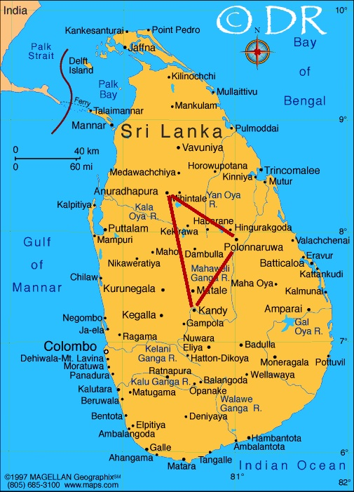 Carte du triangle culturel du Sri Lanka