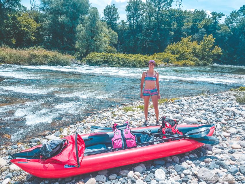 Descente de l'Ardèche en kayak gonflable Gumotex