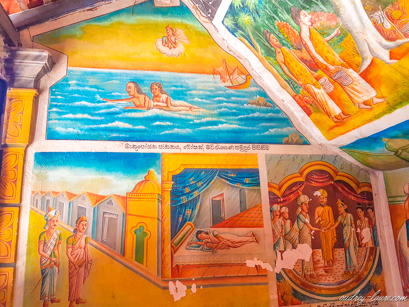 voyage Sri Lanka : temple bouddhiste d'Aluvihara peintures fresques grottes